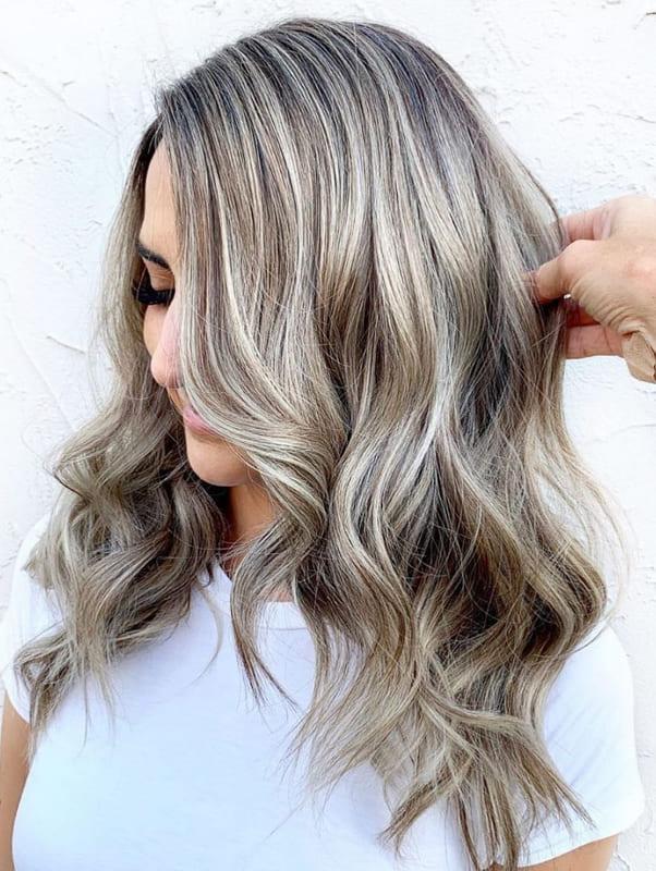 Medium silver ash blonde hair