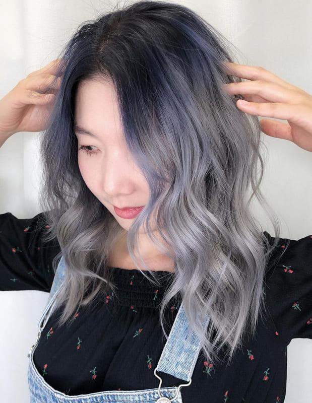 Medium silver ombre hair