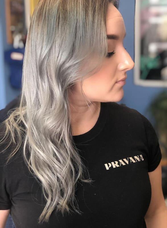 Medium smokey silver hair