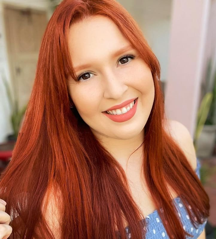 Medium straight ginger orange hair