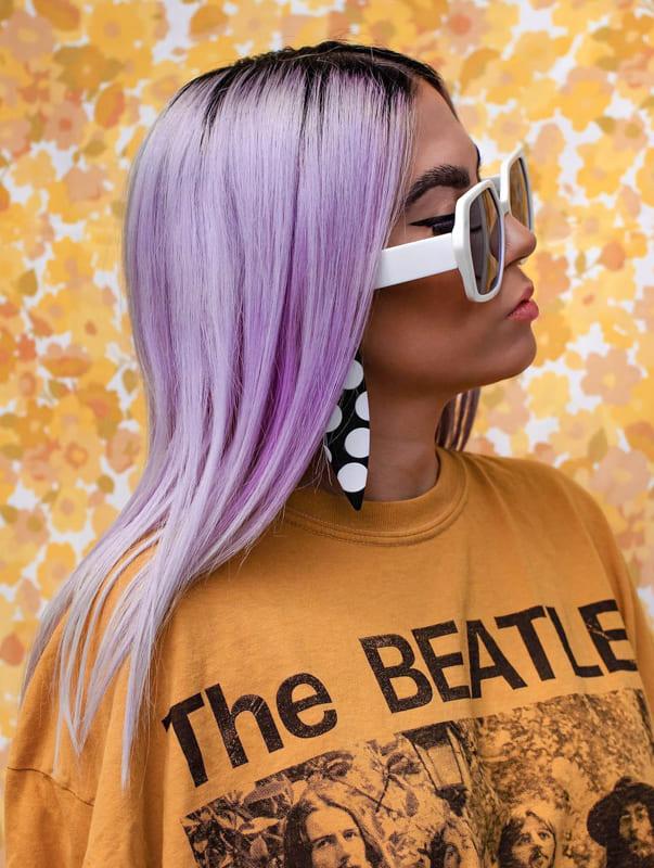Medium straight lavender hair