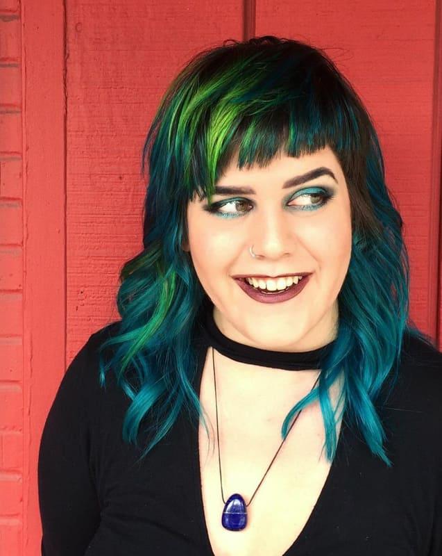 Medium teal green hair