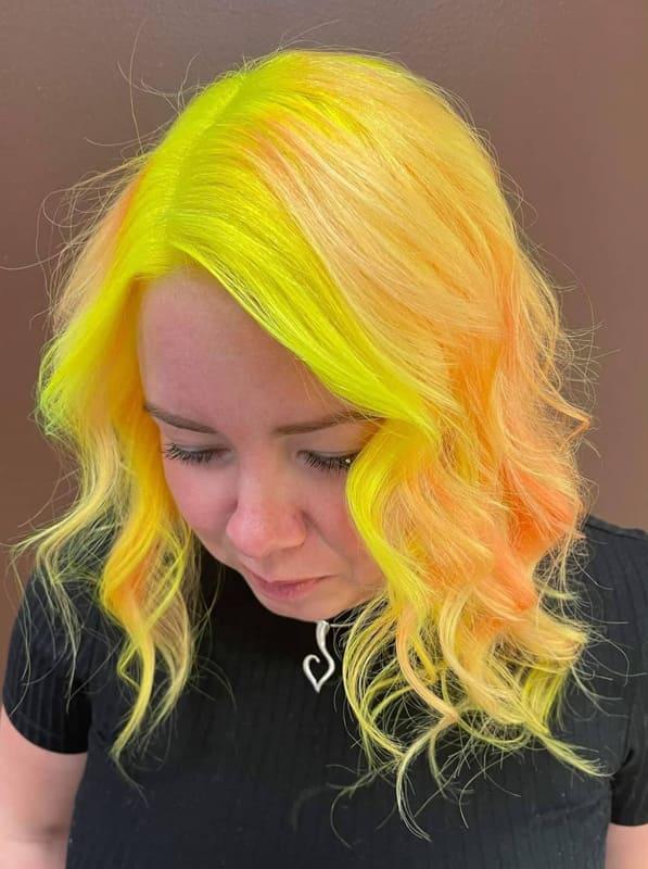 Medium wavy neon yellow hair