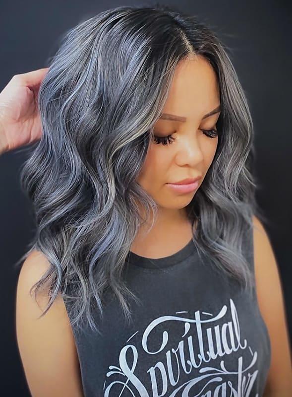 Metallic wavy silver hair