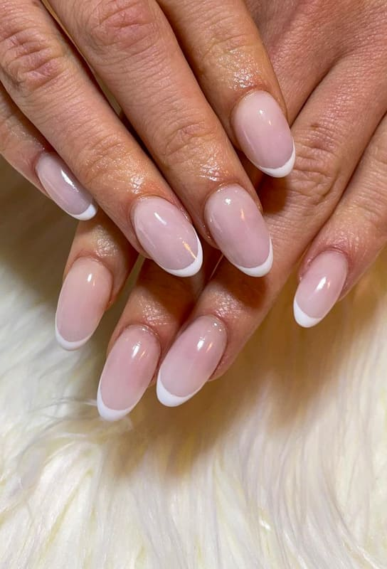 Natural french almond nails