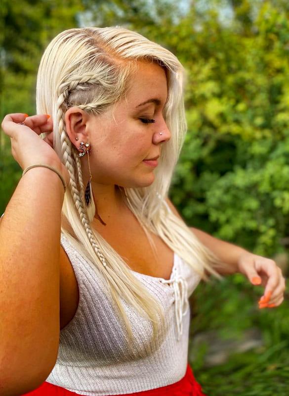 Platinum blonde side viking braids hair