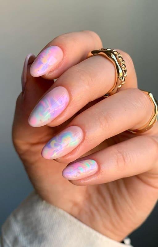 Rainbow marble gel nails