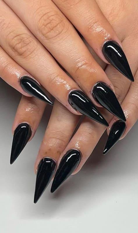 Short black stiletto nails