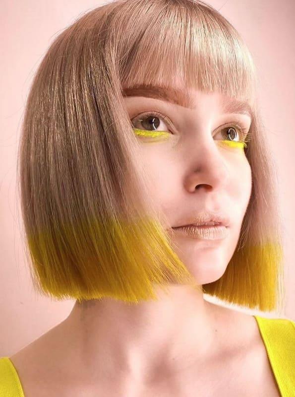 Short bob blonde yellow hair with bangs