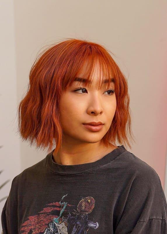 Short bob burnt orange hair color