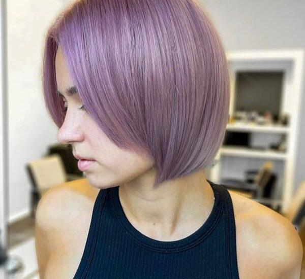 Short bob lavender hair