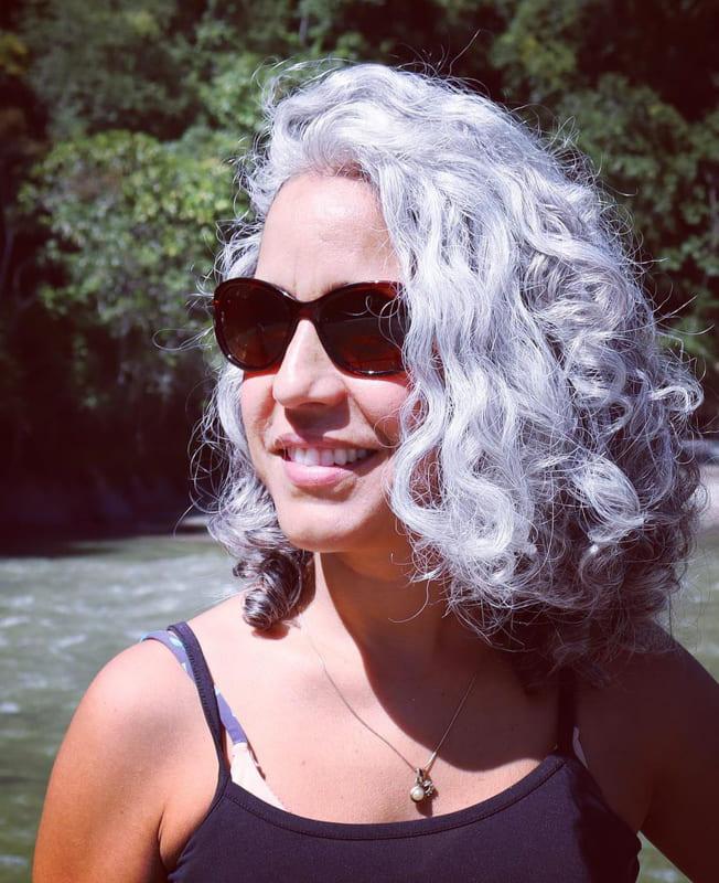 Short bob silver curly hair