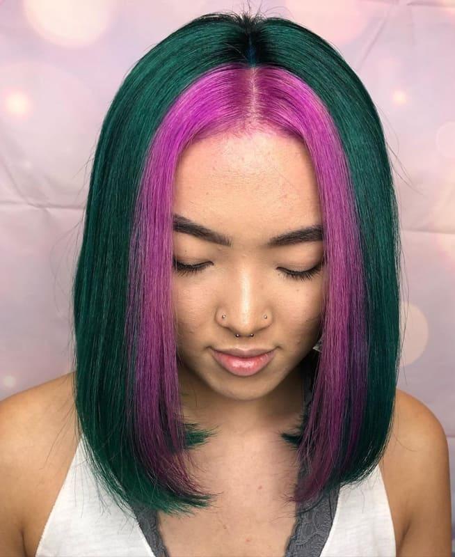 Short bob teal and pink hair