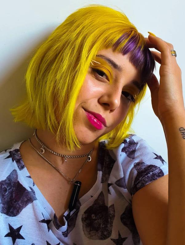 Short bob yellow purple hair with bangs