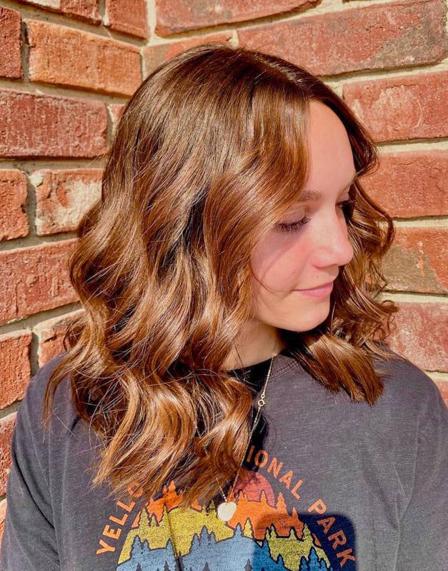 Short caramel chestnut hair