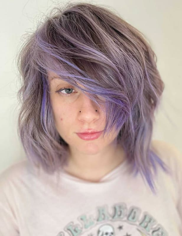 Short messy lavender hair