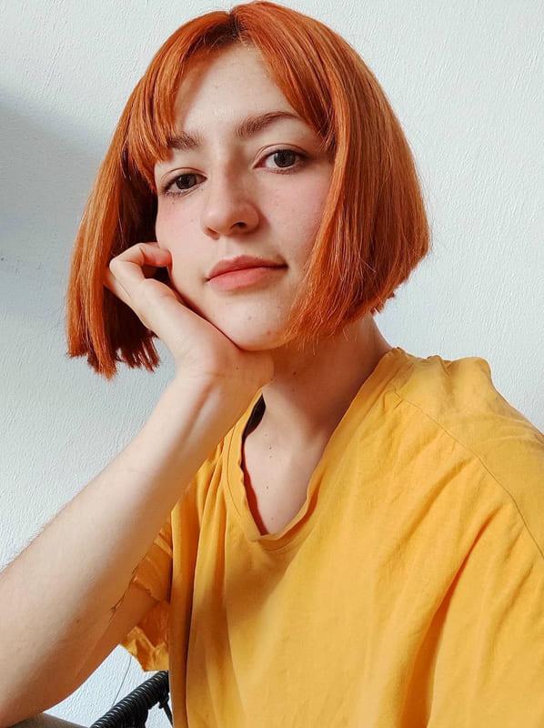 Short orange bob hair