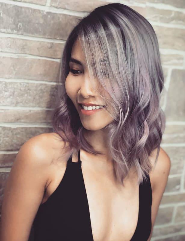 Short pastel silver purple hair