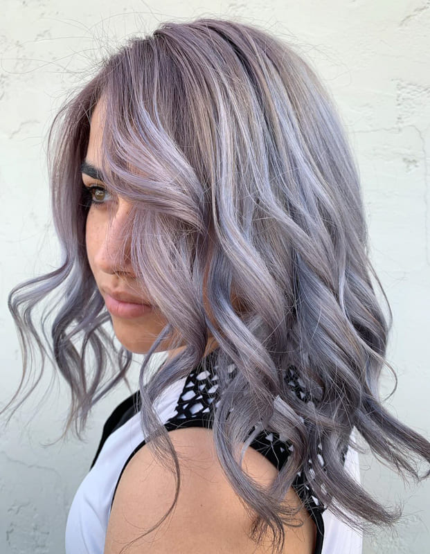 Short purple silver hair