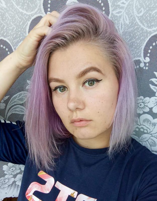 Short straight lavender hair
