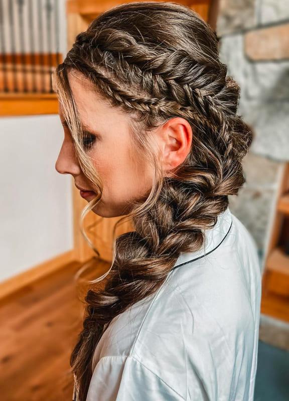 Side fishtail viking braids for long hair