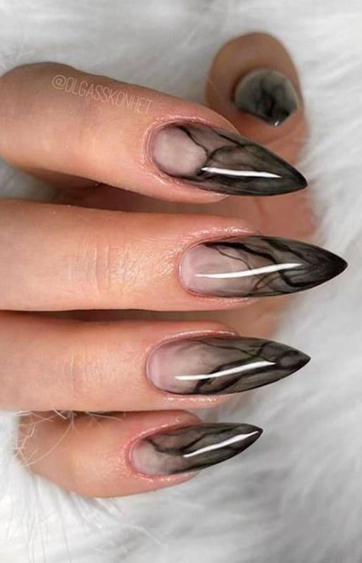 Stiletto black marble nails