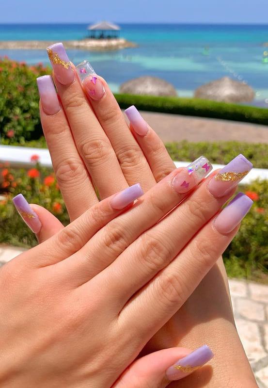 Summer ombre lavender nails
