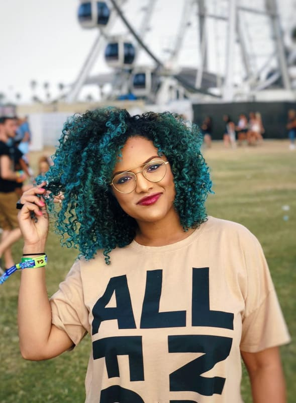 Teal curly hair for black women