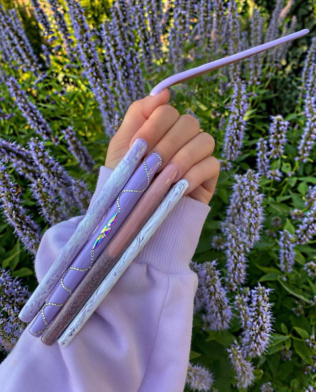 Ultra Long lavender nails