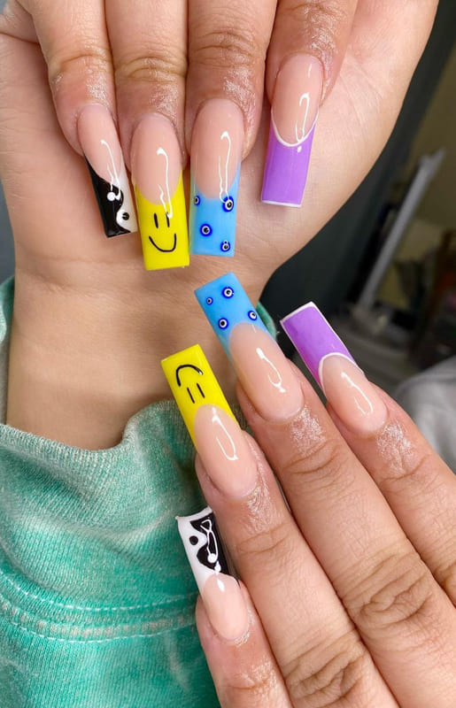 Colored long french tip nails