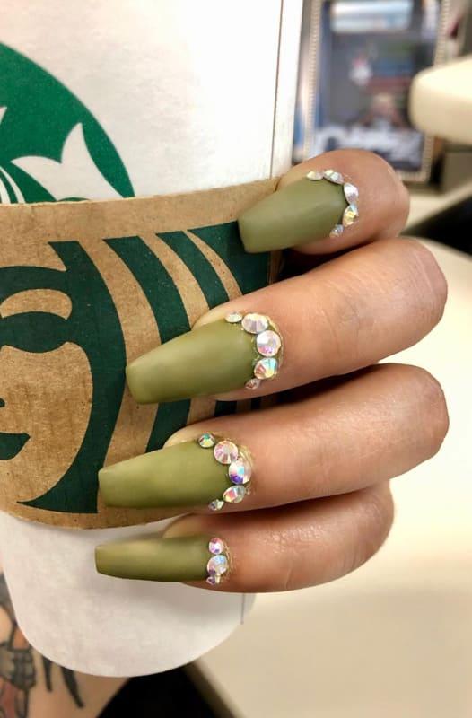 Matte olive green nails