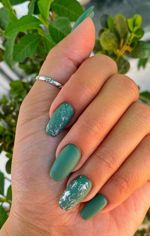 Matte sage green nails