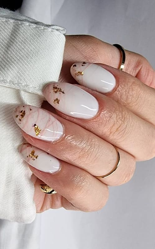 Rose gold almond nails